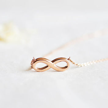Infinity necklace - rose gold titanium