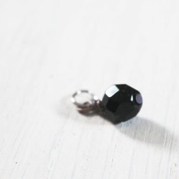 Onyx Glass Bead Charm - vintage black faceted beaded charm - design your necklace - build your own customized jewelry