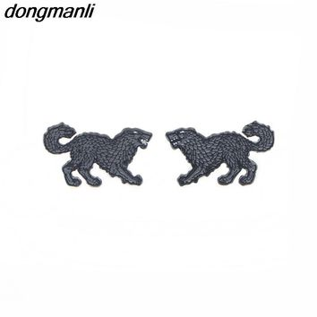 P1264 Dongmanli Punk Style Enamel Game Of Thrones Stark Wolf totem Cool Stud Earrings for Women Hot TV Jewelry Fans gift