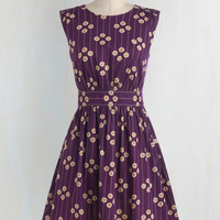 Vintage Inspired Mid-length Sleeveless Fit & Flare Too Much Fun Dress in Plum Petunias