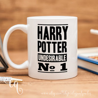 "Harry Potter mug with quote from the cover of a Daily Prophet magazine - ""Harry Potter Undesirable No 1"""