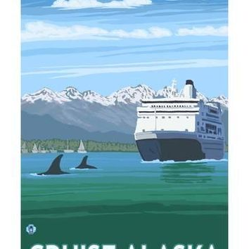 Alaska - Cruise Ship and Whales Art Print by Lantern Press at Art.com