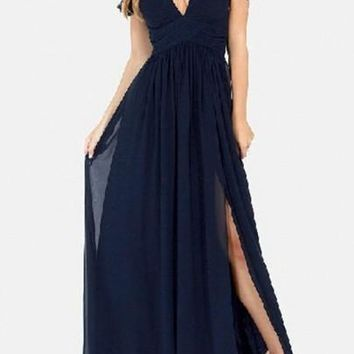 Navy Blue Draped Irregular Grenadine Side Slit Shoulder-Strap Off Shoulder Prom Elegant Maxi Dress