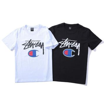 Stussy x Champion Women Man Fashion Print Short Sleeve Tunic Shirt Top Blouse