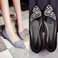 Summer Pointed Toe Leather Embroidery Butterfly With Heel Shoes [4919877124]