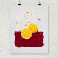 Lemon Painting, Yellow Art, Red Decor, Fruit Still Life Painting, Small Art, Kitchen Decor, Impressionist Painting, Art on Paper, 11 x 14