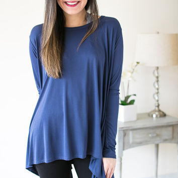 The Back Is Where It's At Long Sleeve Tunic - Navy