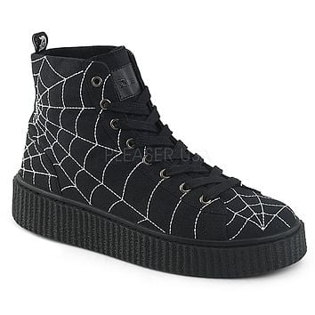 Demonia Spiderweb Unisex Ankle Height Creeper Sneakers