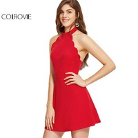 Sexy Dress Club Wear A Line Mini Dress Ladies Red Halter Neck Backless Scallop Skater Dress