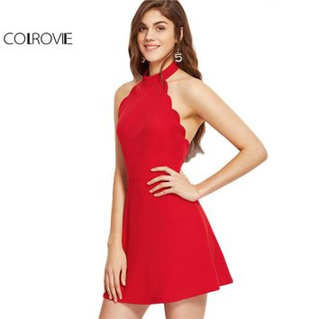 COLROVIE Sexy Dress Club Wear 2017 Summer A Line Mini Dress Ladies Red Halter Neck Backless Scallop Skater Dress