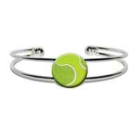 Tennis Ball Sporting Goods Sportsball Silver Plated Metal Cuff Bracelet