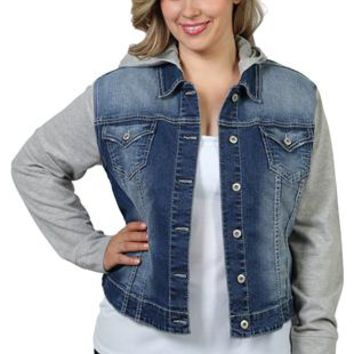 plus size ariya denim jacket with built-in hooded sweater