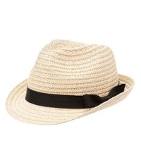 Tan Bow Band Straw Fedora by Charlotte Russe