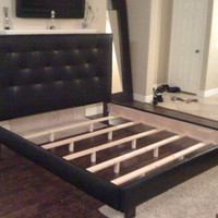 King or Cal King Button Tufted Headboard and Bed Frame