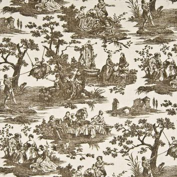 Kasmir Fabric Pastoral Toile Chocolate