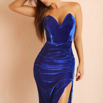 RESTOCK Tish Royal Blue Velvet Dress