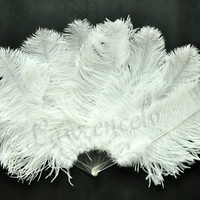 "White 21""x 35"" Junior Size Ostrich Feather Fan Burlesque Dancing"
