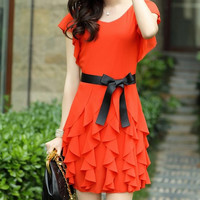 Scoop Neck Short Sleeve Chiffon Lace-Up Dress
