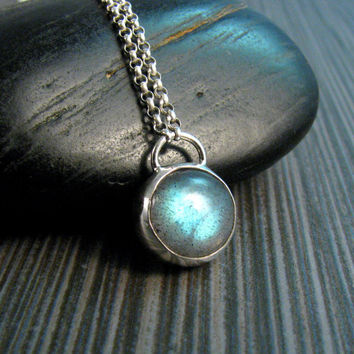 Labradorite Bezel Necklace in Sterling Silver - Labradorite Pendant - Blue Stone Necklace - Padlock Style Pendant Necklace