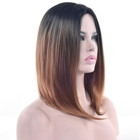 Soowee Synthetic Hair Black to Brown Ombre Color Short Straight Wigs High Temperature Fiber Bob Cosplay Wig for Women