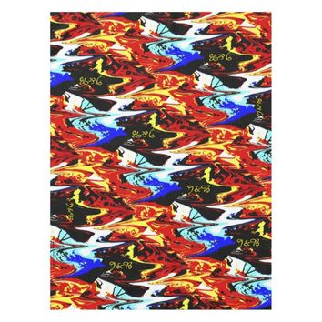 Abstract Red Yellow Blue Black White Table Cloth