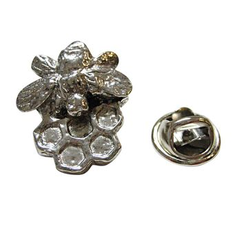Silver Toned Honey Bee and Honey Comb Lapel Pin