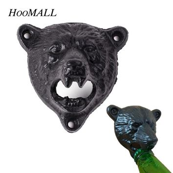 Hoomall Wall Hanging Fixed Cast Iron Bottle Opener Black Bear Head Shape Night Club Bar Home Beer Opener Kitchen Tool