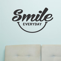 Inspirational Vinyl Lettering Smile Everyday Wall Quote Decal Happy Face