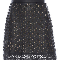 Floral Cutout Leather Skirt | Moda Operandi