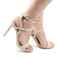 Onelove07M Nude By Anne Michelle, Double Ankle Strap Cuff Stiletto Heel Sandals