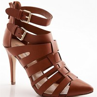 Breckelles Prime Candidate Pointed Toe High Heel Gladiator Sandals - Tan