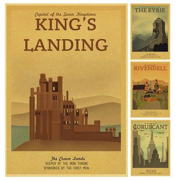 Vintage Poster Game of Thrones Winterfall/King's Landing City Retro Poster Multiple styles home wall decor wall sticker
