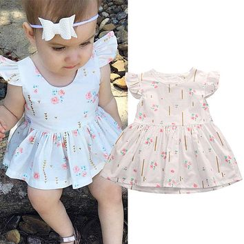 Floral Infant Toddler Baby Girls Clothing Dresses Princess Party Short Sleeve Cotton Flower Cute Kids Tutu Dress