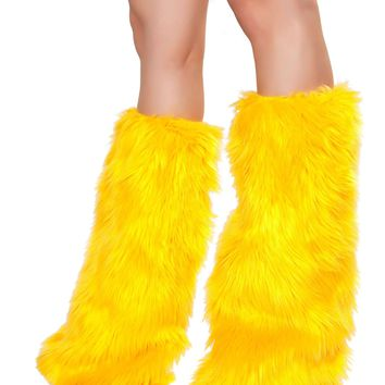 Fur Boot Covers - Yellow