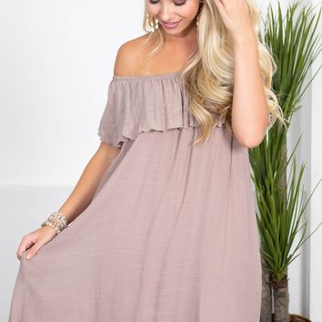 Mocha Crepe Flutter Dress