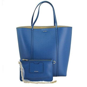 Dolce & Gabbana Blue Leather Tote Bag Bb6021 Ap072 80669