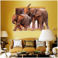 New Arrival 3D Wall Stickers African Elephant Stickers Removable Diy Vinyl Quote Home Decoration