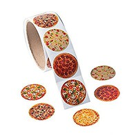 1 Roll ~ Photo Pizza Stickers ~ 100 Round 1.5 Paper Stickers ~ New / Shrink-wrapped by FX/OT