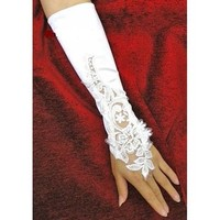 White Flowers Bridal Gloves Fingerless Satin Lace Pearl Wedding Party Prom G1