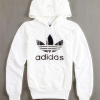 """Fashion """"Adidas"""" Print Hooded Pullover Tops Sweater Sweatshirts White high quality"""