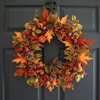 WREATH SALE Autumn Berry Wreath with Acorns, Pinecones, and Fall Foliage | Autumn Rustic Door Wreath - FALL Wreath - Thanksgiving Decoration