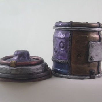 Steampunk Industrial Jar, metallic jewel tones, sculpted polymer clay over glass