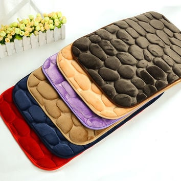3D Pebbles Door Mat Coral Fleece Floor Carpet Anti Slip Kitchen Carpets Absorbent Bathroom Rugs Living Room Doormats