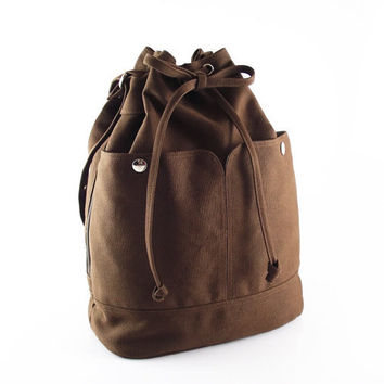 Dark brown canvas bag / tote / purse / Draw string / hurood