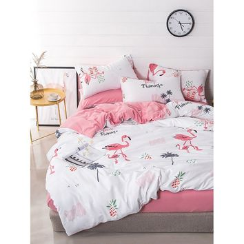 Flamingos & Pineapple Print Sheet Set