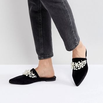 Sol Sana Grace Black Velvet Pearl Detail Mules at asos.com