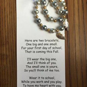 Back to school bracelet set with mother/daughter charms, mother and daughter bracelets