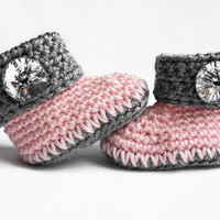 Pink and Grey - Pink and Gray - Crochet Baby Booties - Baby Shoes - Baby Clothes