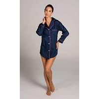Navy and Pink Women's Satin Sleep Shirt by Malabar Bay - FINAL SALE