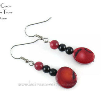 Bright Cherry Red and Black Dangle Earrings